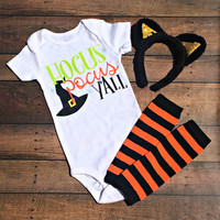 hocus pocus y'all bodysuit, halloween outfit, halloween baby clothes, halloween shirt, fall baby clothes, witch baby outfit, costume