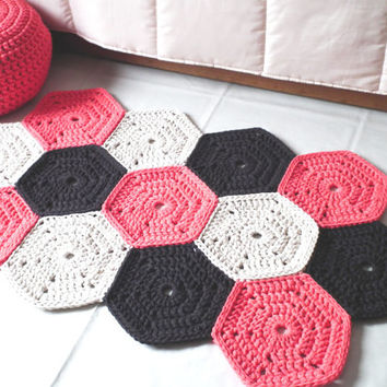 Coral Crochet Rug - Colorful Rug - Crochet Floor Rug - Cotton Rag Rug - Children Crochet Rug - Knit Rug