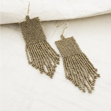 Ink & Alloy  | Gold Seed Bead Earrings with Fringe