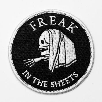 Freak in the sheets embroidered patch. Iron on patch. Skull badge.