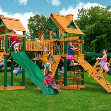 Gorilla Playsets Pioneer Peak Treehouse Wooden Swing Set
