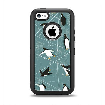 The Vintage Penguin Blue Collage Apple iPhone 5c Otterbox Defender Case Skin Set