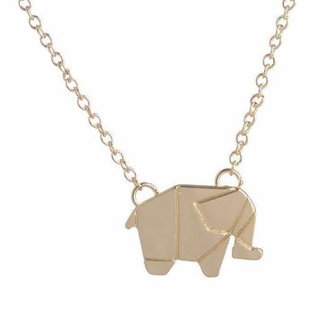 Dainty Origami Elephant Necklace