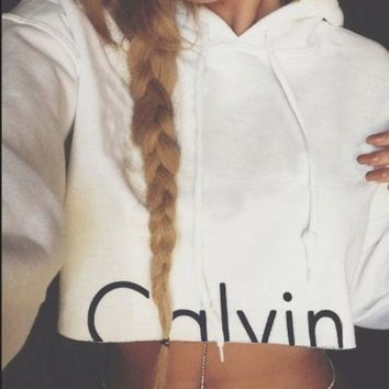 ICIKJH2 Calvin Klein' Round-neck Tops Crop Top Long Sleeve Hoodies