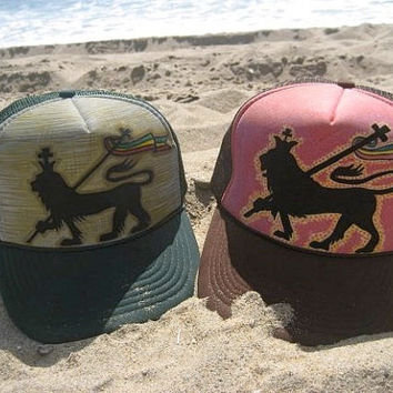 Custom Handpainted Trucker Hat / Jah Rasta Lion One Love Bob Marley / Adult Youth Infant / U Pick