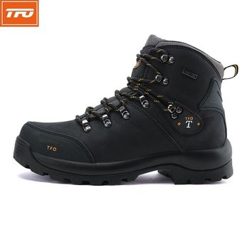 TFO hiking shoes man women mountain shoes Hiking Boots waterproof Genuine leather shoes outdoor Climbing fishing winter tactical