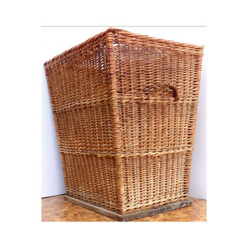Giant Vintage Wicker Laundry Hamper Basket Bathroom Garbage Can Natural Square Tall Antique Woven Trash Guest Bath Shabby Chic Decor