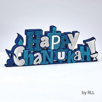 'HAPPY CHANUKAH' FOAM DECO, 10'x4', STANDS, GLITTER ACCENTS, TAG