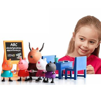 Peppa George Pig Toys Doll Real Scene Classroom Suit PVC Action Figures Early Learning Educational Toy Birthday Gift For Kids