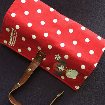 Cute Roll Up Style Pencil Pouch-Red