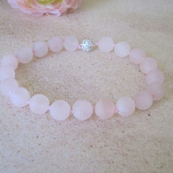 Matt Rose Quartz Cat Collar, Hand Knotted Cat Pink Jewelry Collar with Magnetic Ball Clasp, Pet Healing Stone Jewelry, Holiday Pet Gifts