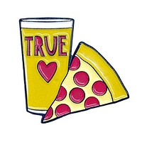 Pizza and Beer = True Love Enamel Pin