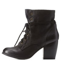 Black Chunky Heel Lace-Up Booties by Charlotte Russe