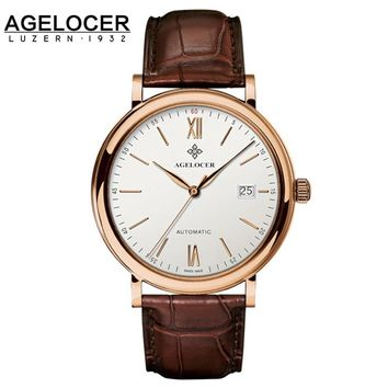 Agelocer Swiss Top Brand Luxury Wrist Watch For Men Gentlemen Russian Vintage Brown Genuine Leather Rose gold Steel Analog Watch