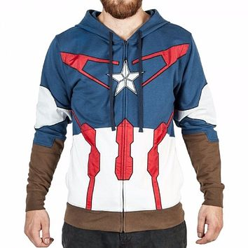 Marvel Captain America Suit Up Marvel Adult Zip Up Hoodie