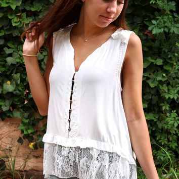 Button Up Lace Top - Ivory by POL Clothing