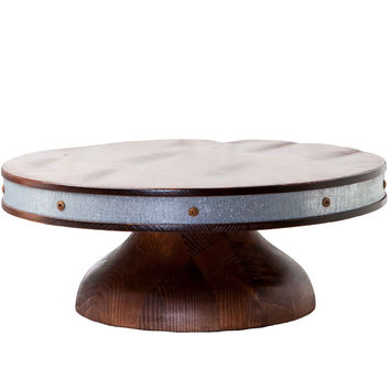 Large Reclaimed Wood Bordeaux Cake Stand