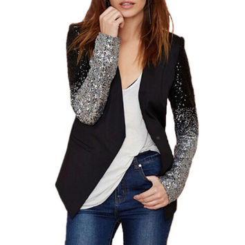 2016 Spring Women Blazer Female Work Suit Spring Long Sleeve Lapel Silver Black Sequins Elegant Ladies feminino Plus Size S-4XL