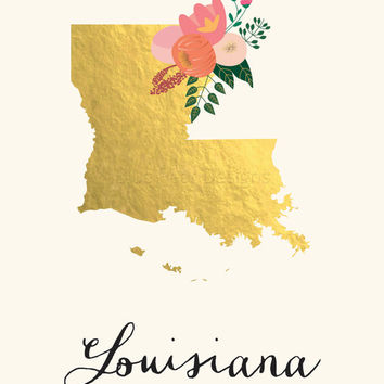 Louisiana State Art Printable Louisiana Art Printable State Wall Art Printable State Map Printable Home Wall Art Faux Gold Foil Printable