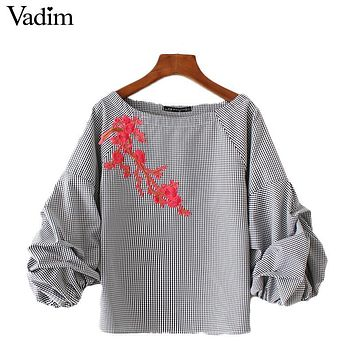 Vadim women floral embroidery applique plaid shirts puff sleeve o neck checked blouse blusas summer casual brand tops DT1125