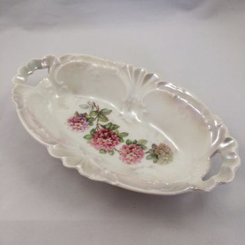 Vintage German china, German relish dish, German trinket dish, German hydrangea vanity dish, German lusterware