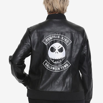 The Nightmare Before Christmas Jack Skellington Girls Faux Leather Jacket Plus Size