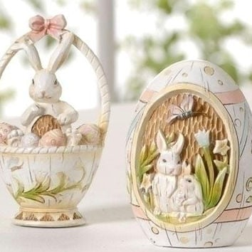12 Easter Decorations - Carved Wood Design