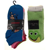 11 Pairs No Show Socks Women Rampage Everbright Size 4-10 Monkey Frog Green Blue