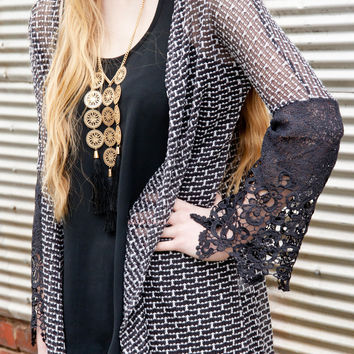 Vintage Lace Charcoal Crochet Sleeve Knit Open Cardigan