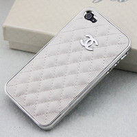 Cute Silver LOGO CC iPhone Case //  White Leather Case// by YeonS