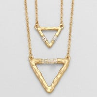 Metal Double Gold Triangle Necklace