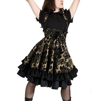 Steampunk Lolita Jumper Skirt Party Dress in Gold Velvet Flock-Custom to your Size