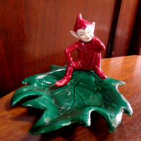 Vintage California Pottery A C Davey Elf Pixie Candy Dish