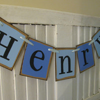 Boy Name Banner in Blue Color Block Baby Boy Shower Personalized Garland Boy Bedroom Decor