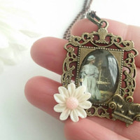 Victorian Lady Pendant Necklace White Flower 21 inches
