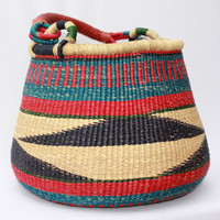 African Basket, Bolga Basket,  Pot Basket, Storage Basket, Ghana, Woven Basket, Hand Woven, Handmade - BRPB014 Large