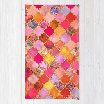 Hot Pink, Gold, Tangerine & Taupe Decorative Moroccan Tile Pattern Area & Throw Rug by micklyn