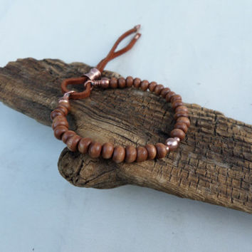 Wood and Copper Beaded Bracelet, Stacking Bracelet, Boho Bracelet, Yoga Bracelet, Men's Bracelet, Women's Bracelet, ColeTaylorDesigns