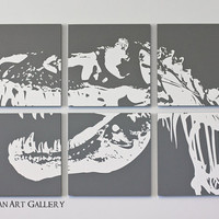 SALE TRex Dinosaur Screen Print Collection  by RightGrain on Etsy