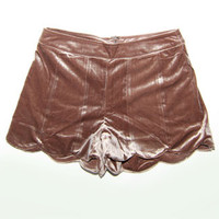 Velvet Scalloped Shorts in Bronze Metallic