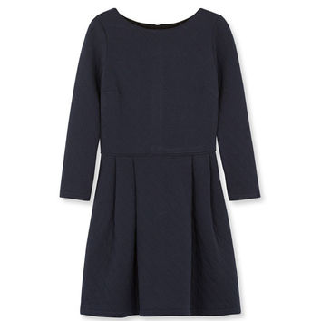 Navy Petit Bateau Double Faced Jersey Quilted Dress