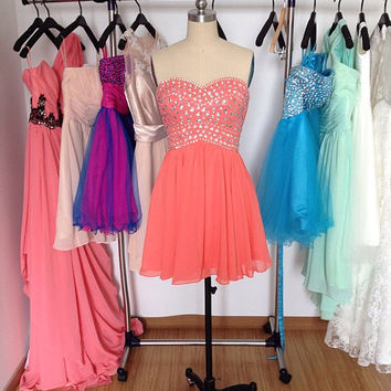 Short Beaded Prom Dress Coral Prom Dresses Sweetheart Wedding Party Dress Homecoming Dress Formal Dress