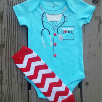 Doctor Love Boys Valentine Onesuit Outfit - Baby Boy - Funny Onesuit - Red - Chevron - Leg Warmers - First Valentine's Day