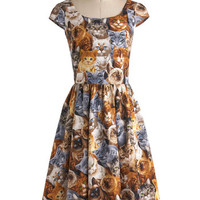 ModCloth Cats Long Cap Sleeves A-line Hooked on a Feline Dress