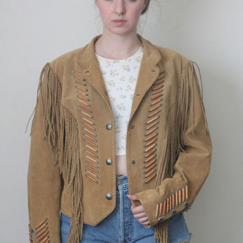 Vintage 80s Southwestern // Indian Beaded Fringe Jacket // Genuine Suede Leather // Taupe Beige Tan Brown // One Size / Small Medium Large
