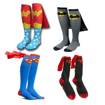 Batman Dark Knight gift Christmas Mens Cotton Socks MARVEL Super Hero Superman Batman Knee High With Cape Stockings Cosplay Costume Socks Props Gifts AT_71_6