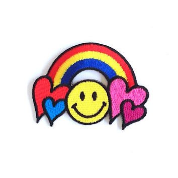 Rainbow Applique Iron on Patch Size 6.8 x 5 cm