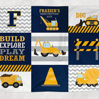 CONSTRUCTION Blanket Pillow Set, Construction Trucks Decor, Construction Trucks Nursery Bedding, Personalized Boy Name, Baby Boy Shower Gift