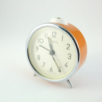RUHLA - Orange Alarm Clock Vintage Mechanical Alarm Clock GDR Desk Clock Ruhla German Clock