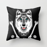 Silver Wolf Geometric Throw Pillow by chobopop | Society6